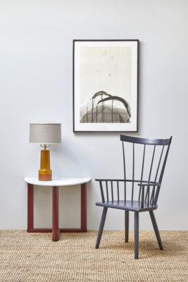 OG STUDIO HULL PARABOLA SIDE TABLE COLT HIGHBACK ARMCHAIR POINT JUDITH LAMP M DONDERO VIGNETTE